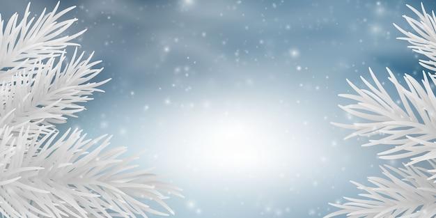 L'inverno è un elemento di luce sfocatura astratta che può essere utilizzato per lo sfondo decorativo bokeh. neve che cade Vettore Premium