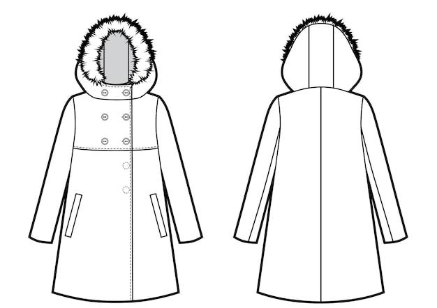 Giacca invernale con cappuccio in pelliccia schizzo