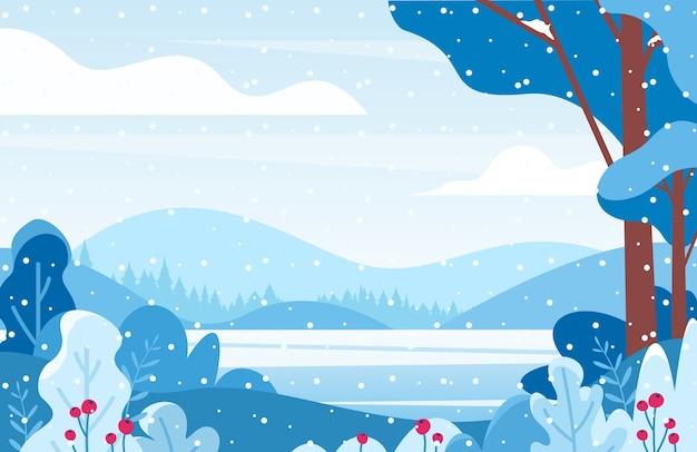 Paesaggio lacustre invernale piatto. nevicata nella foresta.