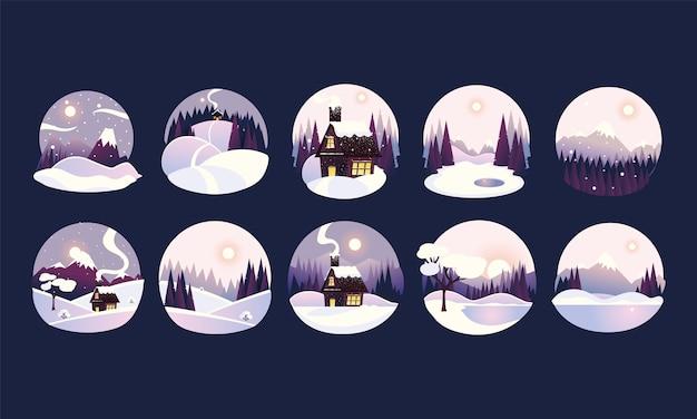 Cornici di cerchio di paesaggio invernale con abeti e neve, foresta e illustrazione di cottage di campagna