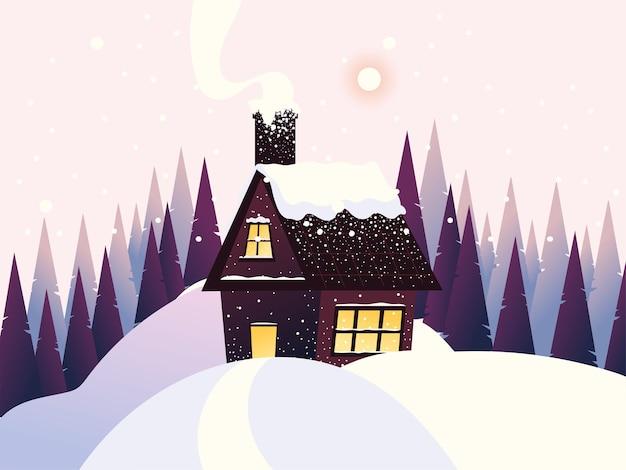 Illustrazione degli alberi di pino della neve del camino del cottage del paesaggio di inverno