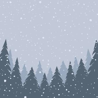 Paesaggio invernale. neve che cade. sfondo di natale. illustrazione vettoriale