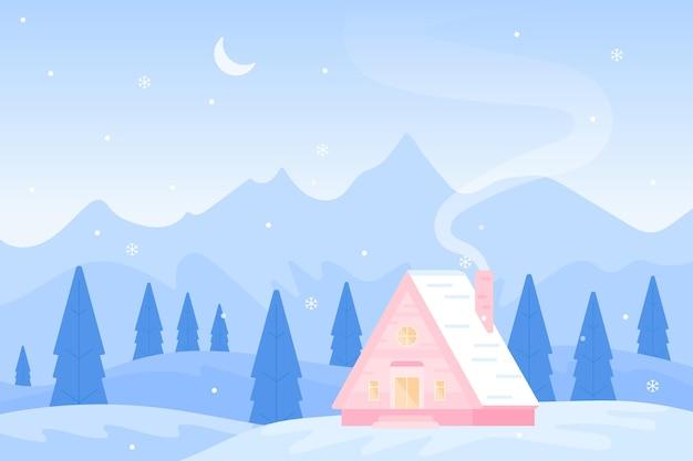 Paesaggio invernale in design piatto