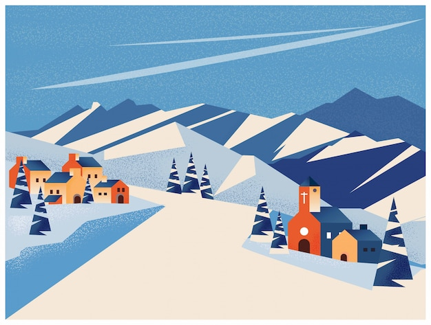 Paesaggio invernale del piccolo villaggio in montagna o picco