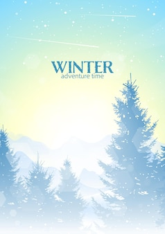 Fondo grafico di progettazione piana di vettore poligonale minimalista del paesaggio di inverno