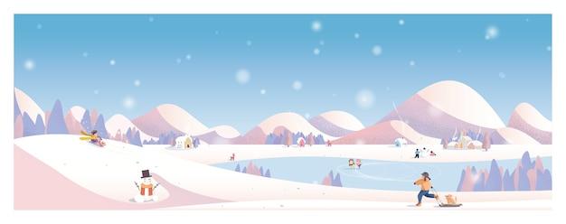 Paesaggio invernale. villaggio rurale. bambini che giocano fuori.