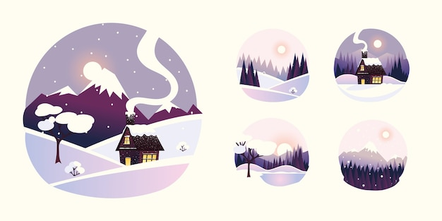 Icone rotonde di paesaggio di paesaggio invernale, illustrazione della foresta di pini delle montagne del cottage