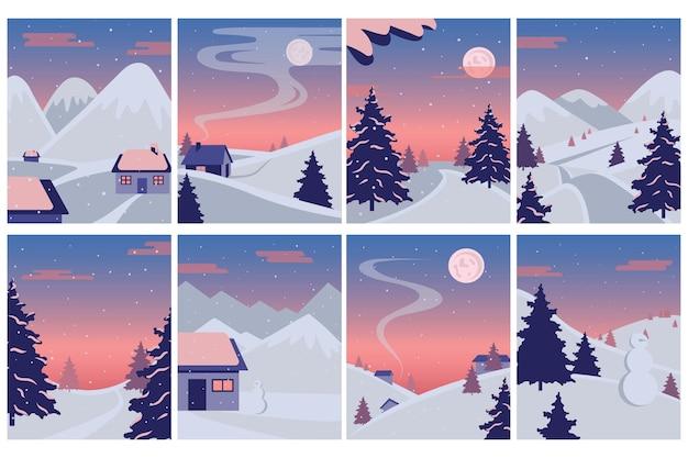 Set paesaggio invernale. illustrazione di un paesaggio invernale di natale con pupazzo di neve e cervi, concetto di inverno.