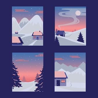 Set paesaggio invernale. illustrazione vettoriale di un paesaggio invernale di natale con pupazzo di neve e cervi, concetto di inverno.