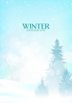 La nevicata del paesaggio invernale in montagna vector l'illustrazione minimalista di design piatto poligonale