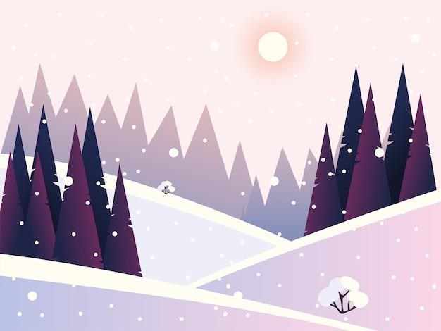 Illustrazione di foresta di pini e colline di nevicate di paesaggio invernale