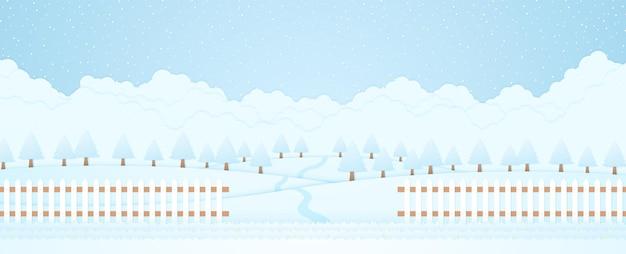 Paesaggio invernale, alberi sulla collina e neve che cade, erba e recinzione, stile cartaceo