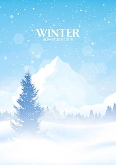 Illustrazione piana poligonale minimalista di vettore di paesaggio invernale