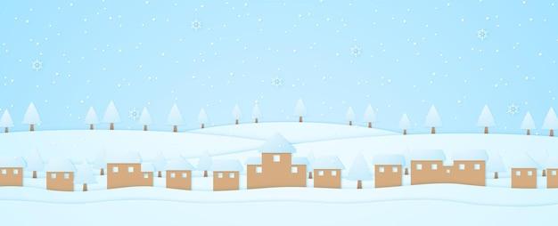 Paesaggio invernale, villaggio e alberi sulla collina con neve che cade e fiocco di neve, stile arte carta
