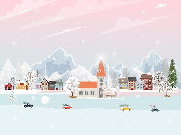 Paesaggio invernale nel villaggio con simpatico cartone animato della casa delle fate