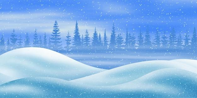 Paesaggio invernale con cumuli e neve che cade