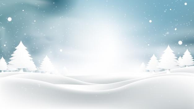 Paesaggio invernale con fiocchi di neve che cadono.
