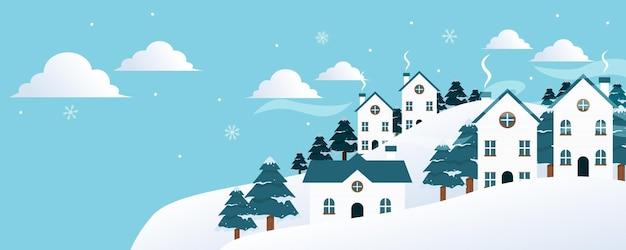 Paesaggio invernale con abeti e neve. sfondo di natale. per volantini di design, banner, poster, inviti