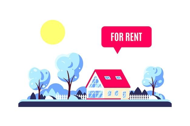 Paesaggio invernale con casa famiglia foresta, alberi, sole e segno in affitto. concetto di bene immobile. illustrazione in stile design piatto