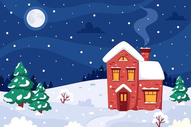 Paesaggio invernale con casa firtrees luna