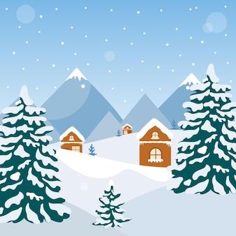 Paesaggio invernale con montagne e abeti. illustrazione vettoriale per la stampa su un poster.