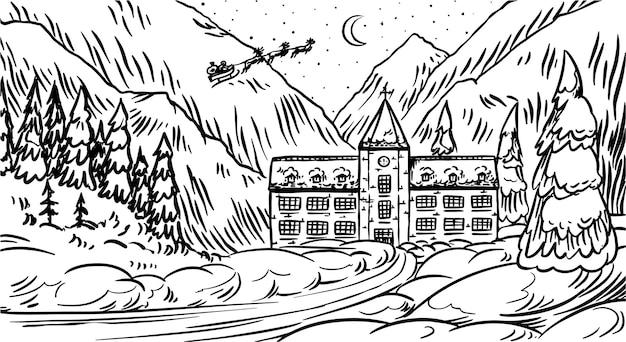 Paesaggio invernale con montagne e neve. bosco di natale con abeti e castello. babbo natale su