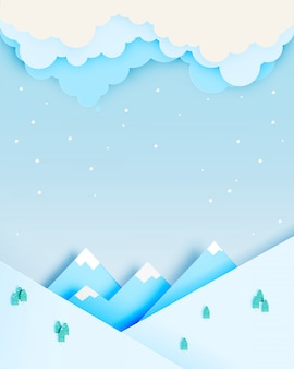 Paesaggio invernale con stile art paper e combinazioni di colori pastello