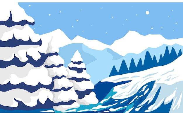 Paesaggio invernale con pini e montagne