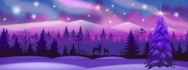 Paesaggio invernale con foresta rosa e viola, sagoma di cervo, cielo notturno. sfondo alaska