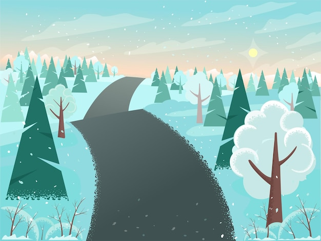 Paesaggio invernale con alberi innevati sulle colline e illustrazione di sfondo stradale