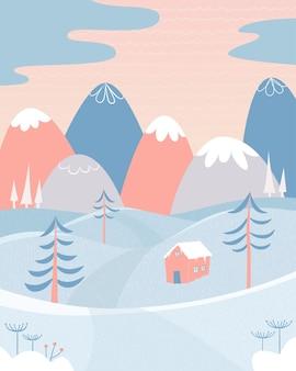 Paesaggio invernale con neve, montagne, colline, casa e abeti