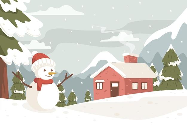 Paesaggio invernale con pupazzo di neve in colori vintage