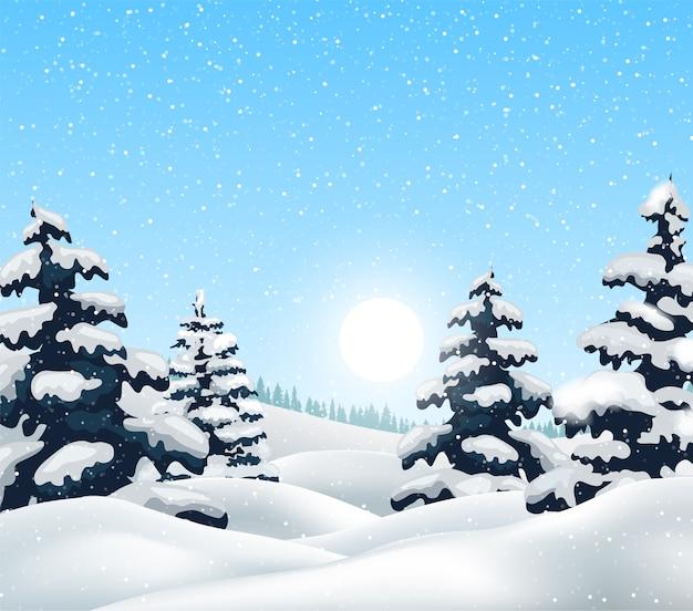 Paesaggio invernale con boschi innevati e uccelli