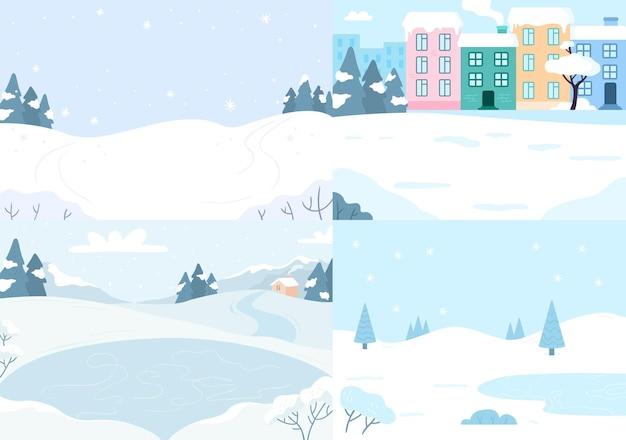 Collezione di paesaggi invernali. natale di stagione della neve di vettore, carta fredda della natura, lago paesaggistico all'aperto e illustrazione di neve coperta
