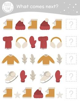 Attività invernale di abbinamento per bambini in età prescolare con vestiti e oggetti.