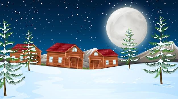 Luna invernale con cabine