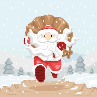 Paesaggio di montagna invernale in esecuzione babbo natale con la sua borsa piena di regali nella neve