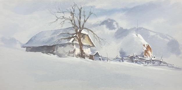 Illustrazione dell'acquerello del paesaggio di montagna invernale