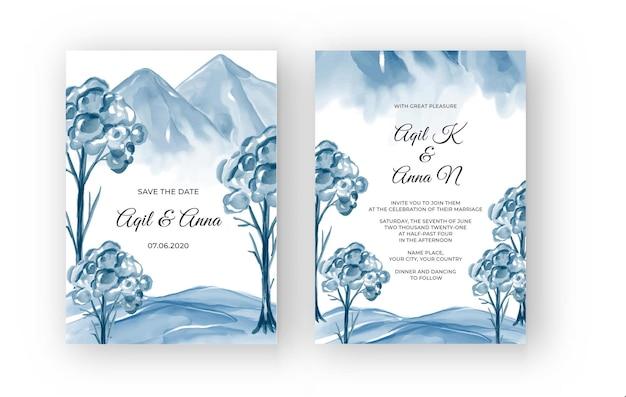 Invito a nozze acquerello paesaggio montano invernale