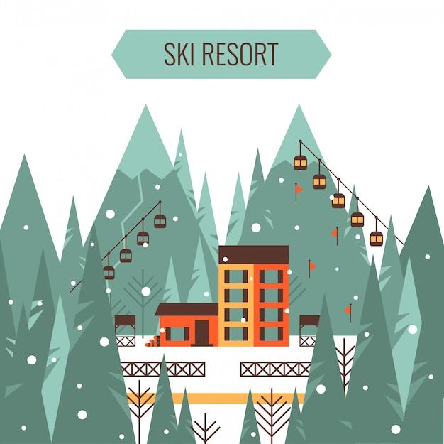 Paesaggio montano invernale con impianto di risalita, casa di campagna, montagne, foresta, pista da sci