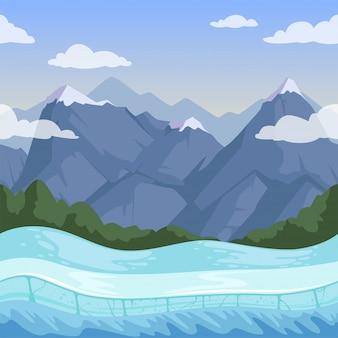 Montagna invernale. rilievo di neve del terreno esterno delle colline rocciose