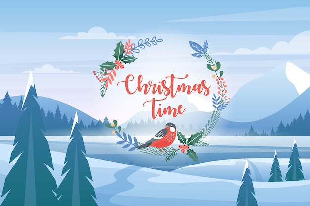 Paesaggio delle montagne di inverno, cartolina d'auguri di natale. felice anno nuovo, concetto di vacanze invernali.