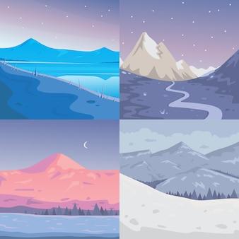 Insieme del paesaggio delle montagne di inverno. cartoon illustrazione all'aperto. montagna di neve.