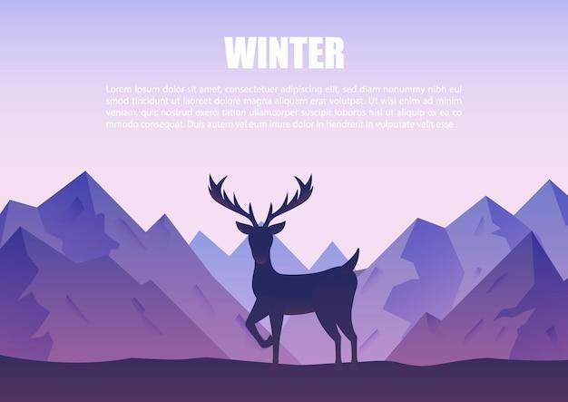 Paesaggio di montagne invernali con silhouette di renne in piedi su una collina. sfondo della natura.