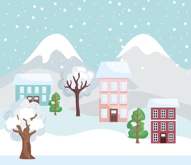 Scena di montagne invernali