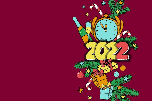 La decorazione della festa dell'albero di natale del bordo scarabocchio del capodanno invernale presenta la cartolina d'auguri allegra di champagne...