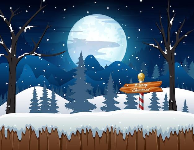 Paesaggio della foresta di notte invernale con cartelli in legno
