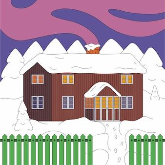Strada di notte invernale con casa, albero di neve.