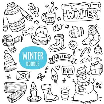 Illustrazione di doodle di oggetti invernali in bianco e nero