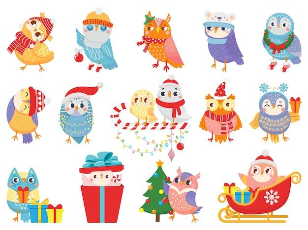 Gufo invernale. simpatici uccelli natalizi, gufi in sciarpa e cappello e mascotte di uccelli.